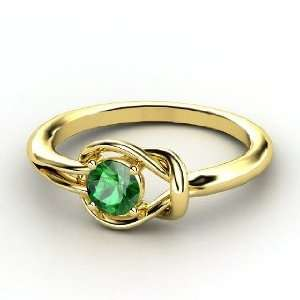 Hercules Knot Ring, Round Emerald 18K Yellow Gold Ring Jewelry