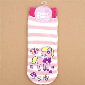 cute pink white striped socks with pink pony Toys & Games