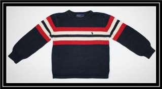 Polo Ralph Lauren ~ Boys Navy Blue Red White Stripe Pullover Sweater