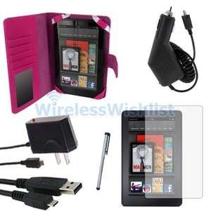 Hot Pink Leather Case+Charger+Stylus+LCD Film For  Kindle Fire