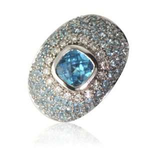 Natural White Round Diamonds (VS Clarity, FG Color) and Blue Topaz