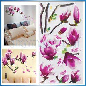 Removable Magnolia Flower Wall Art Sticker Home Decoration Wall Decal