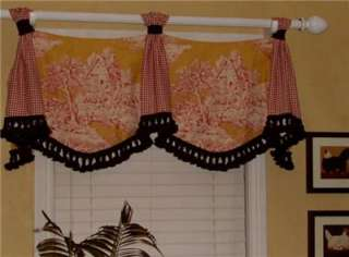 Custom Swag Jabot Tab VALANCE French Country Red Gold Toile Black