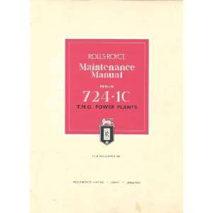 Rolls Royce Merlin 724 1C Aircraft Engine Maintenance Manual Rolls