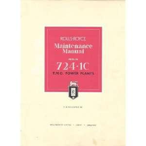 Rolls Royce Merlin 724 1C Aircraft Engine Maintenance Manual Rolls