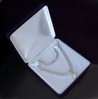 Deluxe XX Large BLUE VELVET Necklace Jewelry Gift Box
