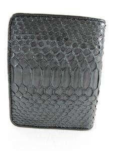 Genuine Belly PYTHON Snake Skin Leather Mens Bifold Wallet BLACK