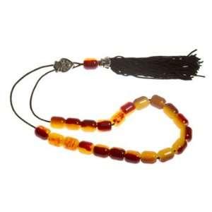 Worry Beads With Tassel   Carmel Swirl & Black Tassel   1