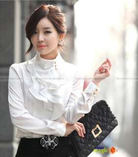 Women Fashion Long Sleeve Shirt Blouse Top Ruffle Stand Collar 4