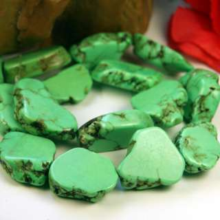 Green Turquoise Stone Large Nugget Loose Beads 15.3Str
