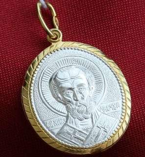 PENDANT , SILVER+GOLD. ST NICHOLAS WONDERWORKER. RUSS. JEWELRY