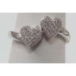 Diamond &White Gold Pave Ring Double Heart Shape Jewelry
