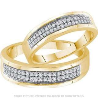 MENS + LADIES YELLOW GOLD FINISH MICRO PAVE DIAMOND WEDDING RING BAND