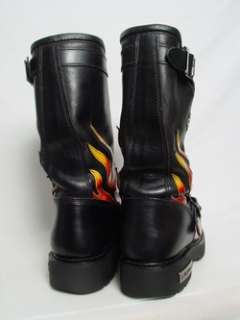 Mens 11 D Black Leather Flames Engineer Logger Motorcycle Boots |