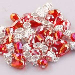 Pc49 Red Teardrop Faceted Crystal Glass Charm Beads 5x