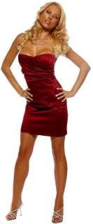 Strapless Cocktail Party Evening Satin Women Mini Dress