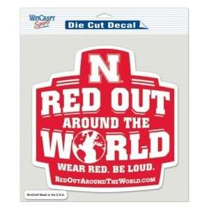 Huskers Die Cut Decal   8x8 Color Red Out