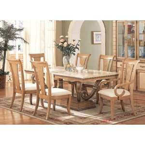 7pc Formal Dining Table & Chairs Set Light Maple Finish