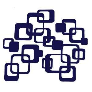 Deep Blue Funky R/ Squares Wall Vinyl Sticker Decal 20 Pieces 6inch