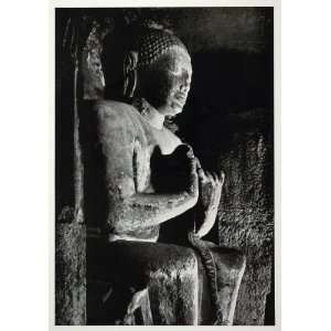 1938 Teaching Buddha Statue Ajanta Cave India Sculpture   Original