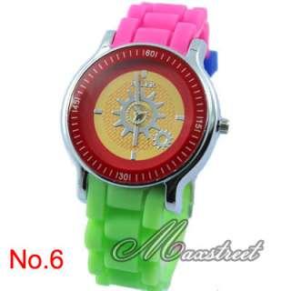 New Fashion Luxury Ladies Girls Silicone Quartz Wrist Watch Gear