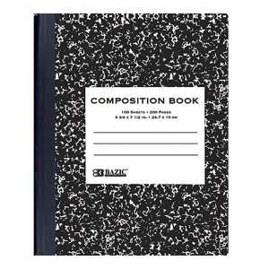 Bazic Ruled Composition Book, Black Marble, 100 Sheets