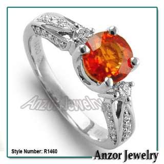 18k White Gold Orange Sapphire Diamond Ring Ring Sizes 4 to 9.5 #R1460