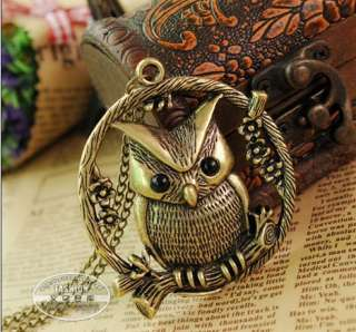 Fashion Bronze Cute Owl With Retro Pendant chain Necklace 27