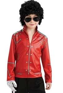 Kids Michael Jackson Costume Beat It Red Zipper Jacket 883028423453