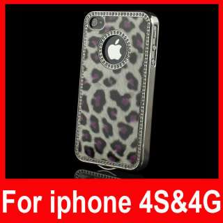 Luxury Bling Rhinestone Leopard Hard Case Cover for Apple iPhone 4S 4