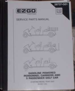 GO GOLF CAR/CART GAS PERSONNEL CARRIER PARTS MANUAL STARTING YEAR