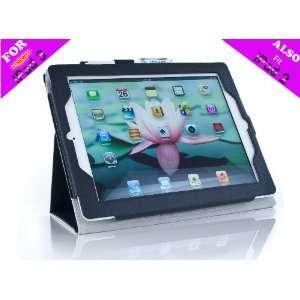 iPearl Leather Folio Case with Stylus for iPad 2 & 3(Black