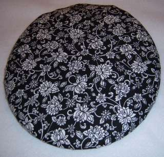 WHITE FLORAL on Black 14 x 13 Toilet Seat Lid Cover