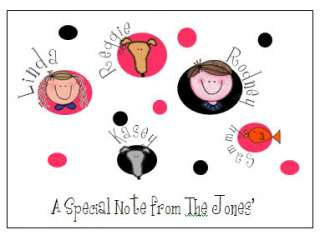Stick Face/People Note Cards Very Cute Personalized