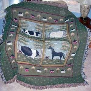 FARM ANIMALS Cow Pig Horse Sheep Tapestry Afghan Throw
