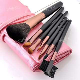Set 7pc Professional Makeup Brushes Cosmetic Tool Kit + Pink Leather