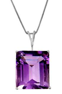 Natural Purple Amethyst Emerald Shaped Gemstone Pendant Necklace 14K