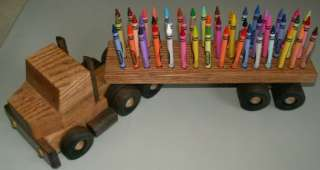 Hand Crafted 18 Wheel Wood Toy Truck & 48 Crayon Holder