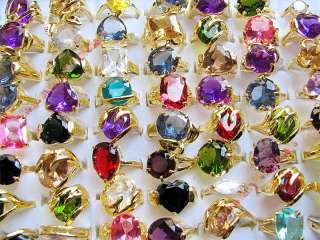 wholesale lots 50 pieces Cubic Zirconia Gold rings