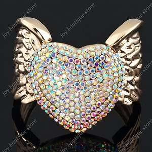crystal heart Angel Wing Rose gold tone fashion bracelet cuff