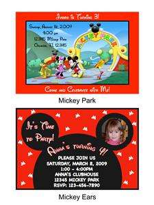 Mickey Mouse Birthday Party Invitations with Envelopes