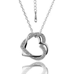 White Gold Inlaid Crystal Intertwined Heart 18k Gold Plated Necklace