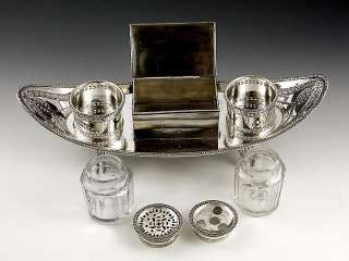 OLD SHEFFIELD SILVER PLATE CUT GLASS INKWELL c1790s