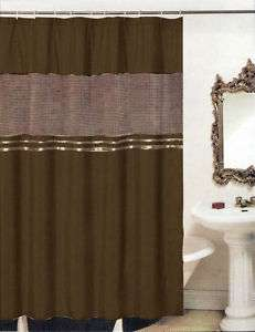 New Luxury Fabric Shower Curtain+Liner Set Mocha Brown