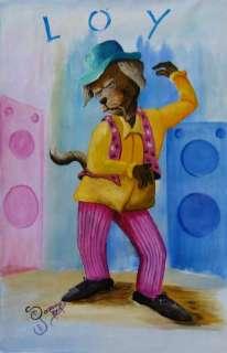 Jamaican Art Funky Dog D. GORDON ORIGINAL PAINTING