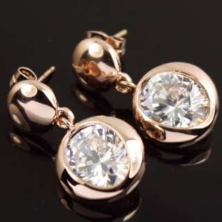Rose Gold GP clear Swarovski Crystal Dangle Earring a1113