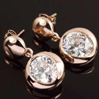 Rose Gold GP clear Swarovski Crystal Dangle Earring a1113