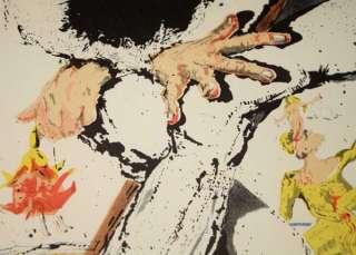 Signed SALVADOR DALI Art LITHO, UACC, Museum Frame, COA, Don Quixote