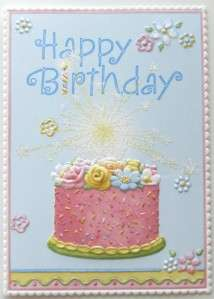 Carol Wilson Birthday Greeting Card Pink Cake, Sprinkles, Sparkler