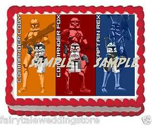 Star Wars Lego Captain Rex Commander Fox Cody Sheet Cake Edible